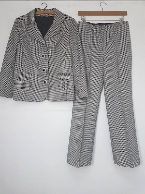 Vintage Suit Tailored Houndstooth Check 1970s