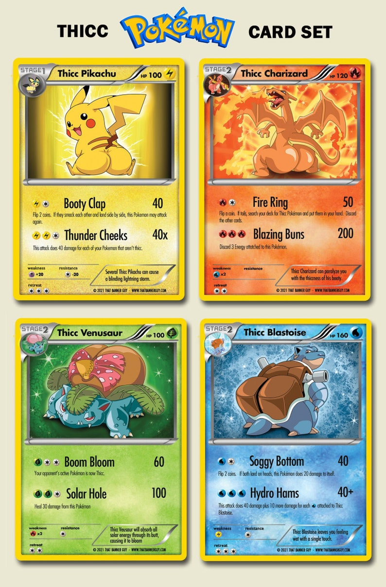 Thicc Pokemon 4 Card Set  Custom Pokemon Cards  Limited image 0