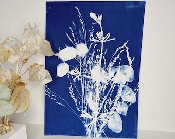 Lunar bouquet, pebble and grasses 2021 - Original cyanotype signed Les Bleus de Delf - Format A4 (21x 29.7 cm).