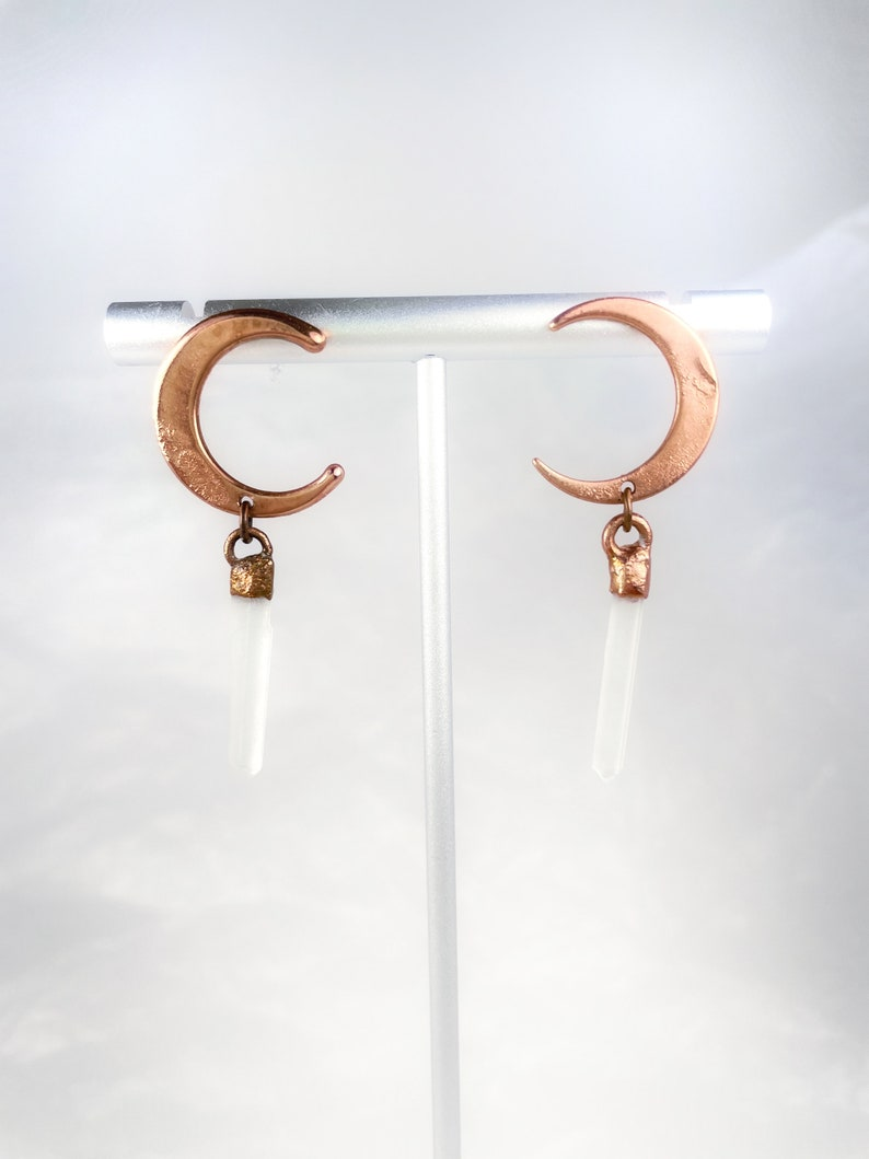 Crescent moon and quartz crystal point electroformed copper earrings  handmade electroformed copper jewelry