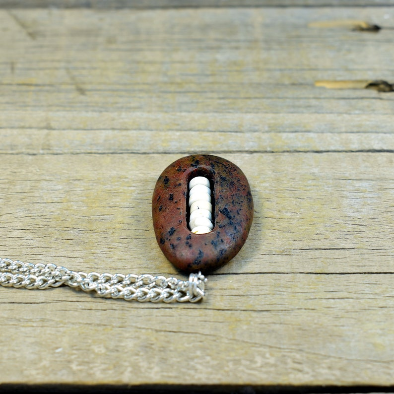 Natural River Rock Stone Necklace with Howlite