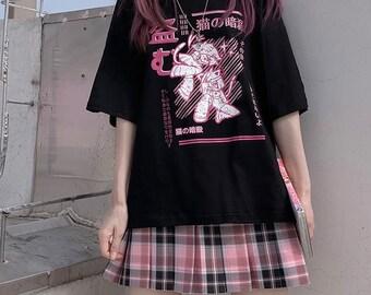 Ninja Cat Graphic T - Shirt  | Street-Wear | Anime Manga T - Shirts | Apparel  | Edgy, Sad, Japan, Weeb, Drain Aesthetic | 2021 Fashion
