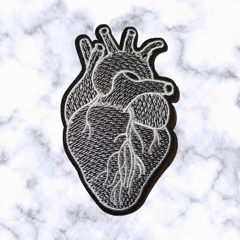 Iron on Patch  Sew on embroidered patches Heart Patch Embroidery Artwork Love Human Organ Halloween Applique Badge for Clothing Jacket