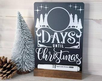 Handmade Christmas Countdown Chalkboard with Wood Stand & Chalk Pen, Days Until Christmas, Christmas Sign, Christmas Decor, Advent Calendar