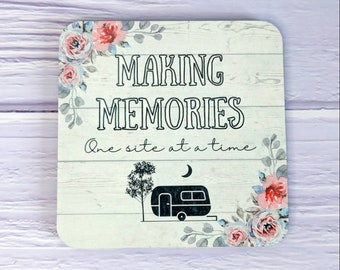 Caravan Coaster, Camping, Caravanning UK, Camping Gift, Floral Coaster, Pretty Gifts, Camping Accessories, Sentimental, Making Memories