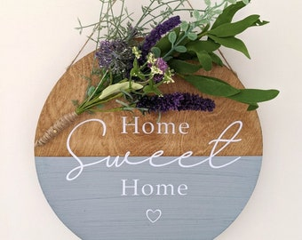 Handmade Rustic Wooden Home Sweet Home Sign, Wooden Plaque, Wood Circle Sign, House Warming Gift, Christmas Gift