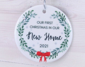 First Christmas in New Home, Tree Decoration, Ceramic Bauble, New Home, House Warming, New House Gift, Stocking Filler, Secret Santa, 2021