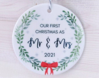 First Christmas as Mr and Mrs, Tree Decoration, Hanging Decoration, Newly Weds, Bride and Groom Gift, Wedding Gift, Ceramic Bauble