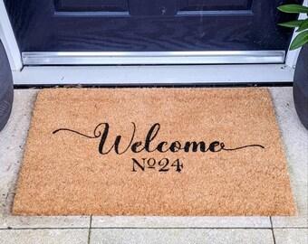 Personalised Rustic Door Mat, Decorative Mat, Coir Mat, House Warming Gift, New Home, Welcome Door Mat, Custom Doormat, Personalised Gift