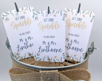 10 Personalised Sparkler Tags, Wedding Favours, Wedding Sparklers, Wedding, Party, Anniversary, Engagement, Customisable Wedding Favors