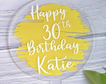 Handmade Acrylic Cake Topper, Personalised Cake Topper, Birthday Cake Topper, 13th 16th 18th 21st 30th 40th 50th 60th 70th