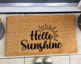 Hello Sunshine, Rustic Door Mat, Coir Mat, House Warming Gift, New Home, Welcome Door Mat, Custom Doormat, Personalised Gift, Home Decor