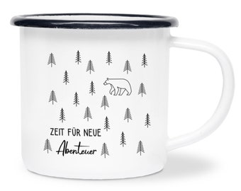 Enamel Cup Camping Personalized, Time for New Adventure, Wanderlust, Camping Mug, Metal Cup, Hiking, Motorhome, Gift