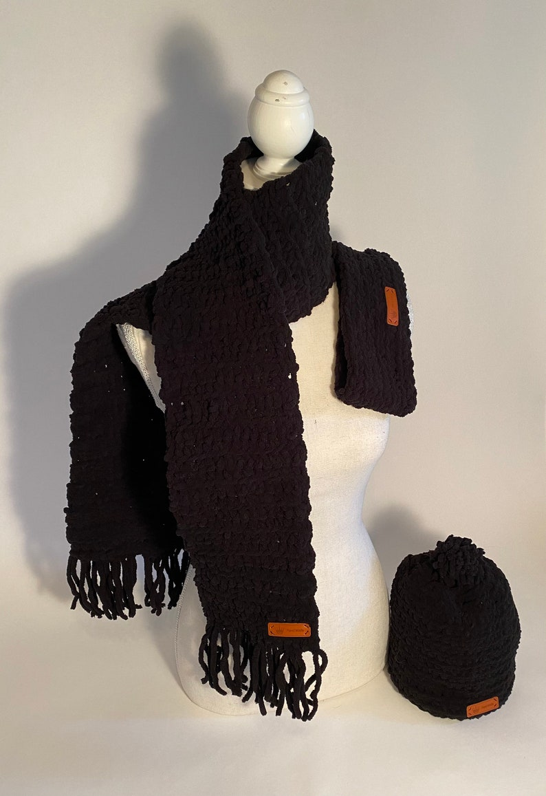 Super warm handmade hat scarf and headband Black Friday special free gift with purchase.