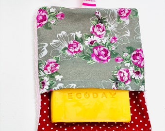 Handmade cotton soap bags and terry self-made soap bags