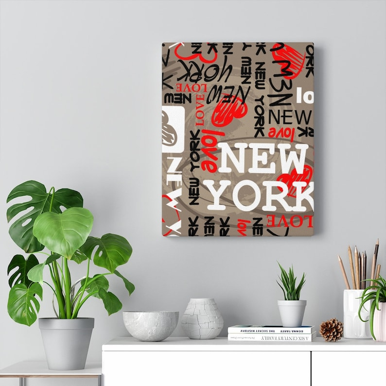Canvas Gallery Wrap Picture for Living Room I love New York City Bedroom