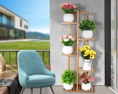 Bamboo Plant Stand Rack 6 Tier - Indoor Flower Pots Stand, Outdoor Plant Shelves Rack Holder