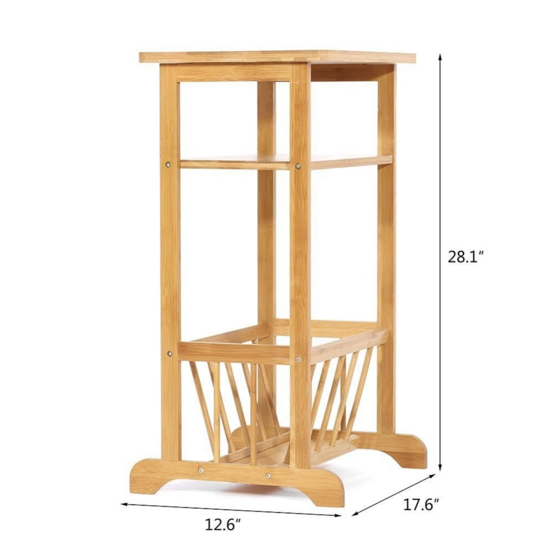 Bamboo Side Table, Book Magazine Rack End Piece, Natural Bathroom Towel Stand, Living Room Corner Organizer & Entryway Caddy