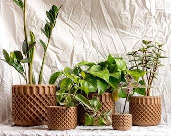 Crosshatch Pots - 3D Printed Wood Pots