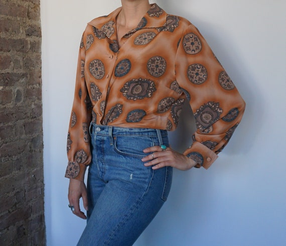 80s Print Blouse, Orange Blouse, Patterned Shirt,