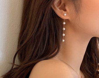 White Pearl Vintage Long Drop Earrings Gunmetal Filigree Earrings Long Pearl Drop Edwardian Earrings Antique Drop Long Steampunk Earrings