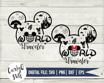 SVG, world traveler, mickey, minnie, castle, dole whip, animal, kingdom, magical, happy place, digital download, cricut, cut file, diy