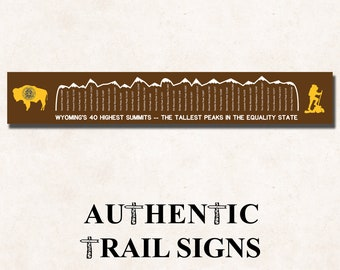 Hiking Elevation Point Series- Wyoming Highest Peaks from Authentic Trail Signs