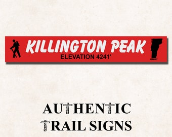 Killington Peak Elevation Hiking- Trail Sign from Authentic Trail Signs