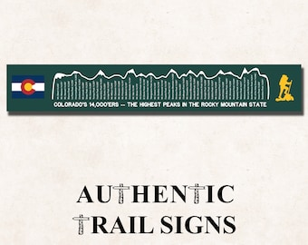 Hiking Elevation Point Series- Colorado 1400'ers Sign from Authentic Trail Signs