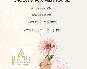 Choose 5 Wax Melts High Quality Fragrance Oils Natural Soy Wax Home Decor Graduations Home Gifts Scents are Inspired