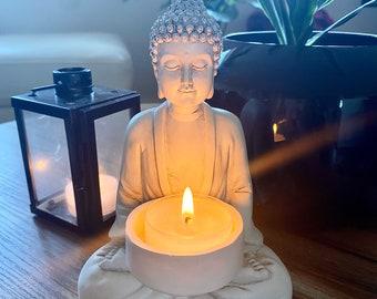 Large Buddha Statue Ornament Tealight Holder White Antique Effect - Boho Decor Housewarming Gift Birthday Gift Home Decor Meditation Room