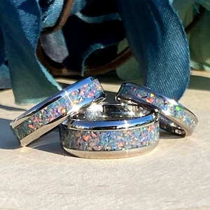 Titanium Men/'s Ring Viridian Green Opal Inlay Ring Women/'s Ring Wedding Stainless Steel Anniversary Engagement