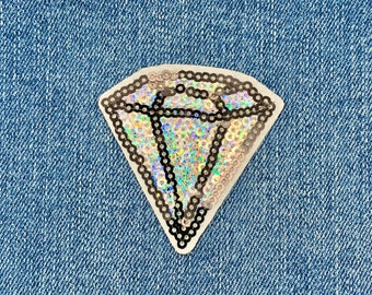 XXL Extra Large Stunning Sequin Diamond Gem Patch 21cm Applique