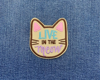 MEOW Cat Patch  Badge Iron on or Sew on!