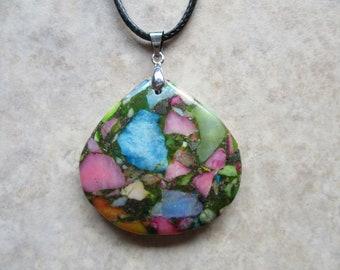 Multi color Jasper Pendant  Boho jewelry  Natural Gemstone Pendant  Macrame Necklace  Healing stone  Gift Jewelry N1069