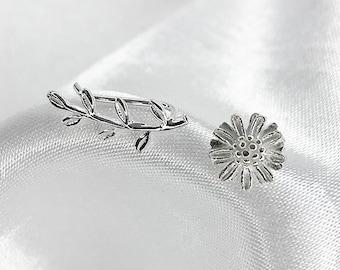Leaf Branch & Daisy Flower Earrings   925 Sterling Silver Mismatch Asymmetric Minimalist Dainty Ear Climbers Crawlers Jewelry  Gift for Her