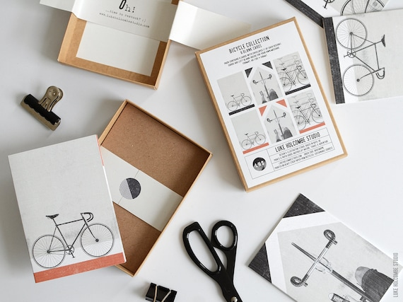 Box of 6 Cards with Envelopes, Bicycle Collection: A6 Size (105 x 148mm)