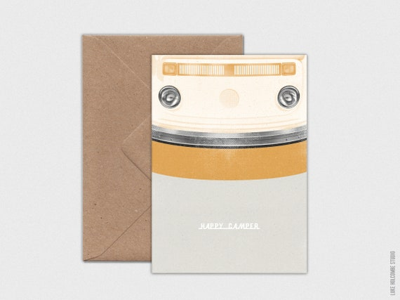 Happy Camper No.1, Individual Card with Envelope (Black or Orange Option): A6 Size (105 x 148mm)