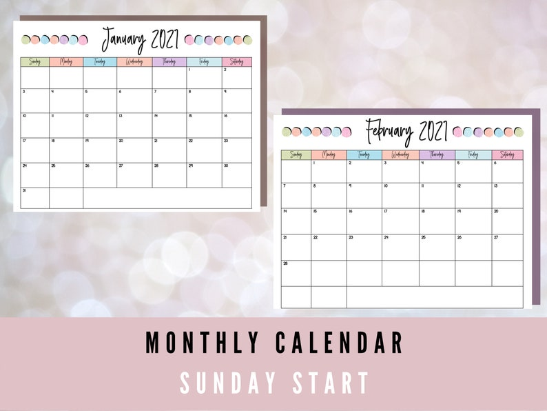 Printable Calendar 2020 2021 August to July Digital | Etsy