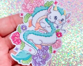 "Floral Dragon 3"" Sticker"