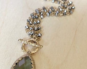 Vintage Toggle Necklace Strand Layered Gold Tone  With Grey Crystals 18 Inches Wear Long 36 Inches
