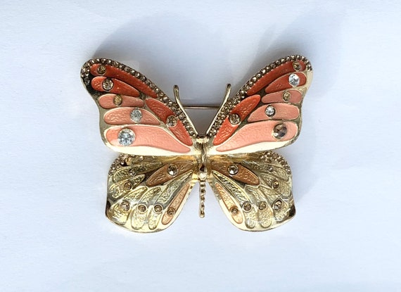 Vintage NAPIER Enamel Butterfly Brooch with Rhines