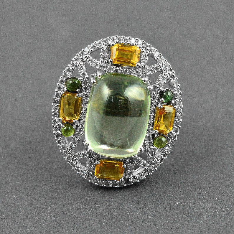 Tourmaline  Handmade 925 Sterling Silver Ring Handmade Ring Boho Ring Natural Green Amethyst Citrine Gift for Her Silver Stamped Jewelry