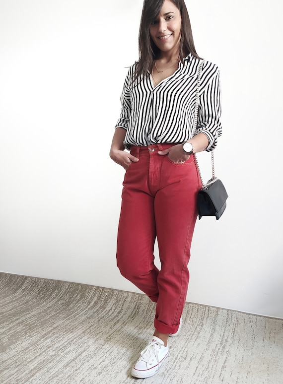 Womens Bright Red Pants High Waist Pants Jeans Style Pants Scarlet Red Trousers Cotton Trousers
