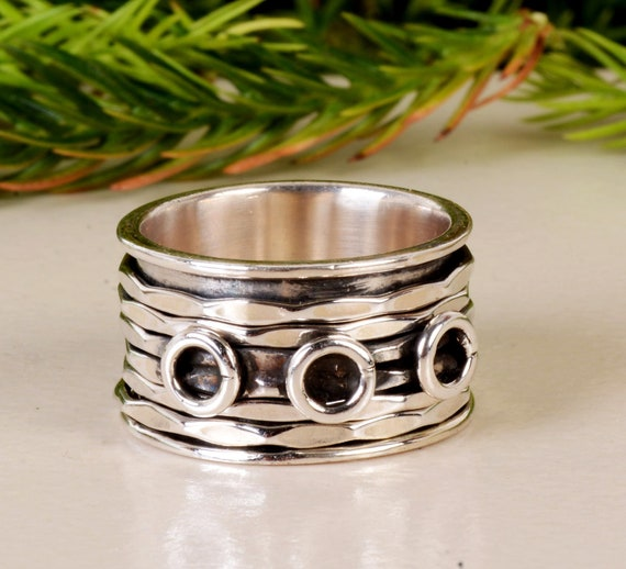 SALE Silver Spinner Ring*Fidget Ring*Anxiety Ring*Spinning Ring*Art Deco Meditation Ring* Sterling Silver Jewelry*Copper Ring*Gift Ring