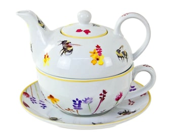 Busy Bees Tea For One Fine China Teapot Pot Cup /& Saucer Serving Set Floral Bee