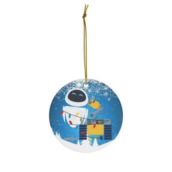 Disney Pixar Wall-E Eve Christmas Light Wrap Graphic Christmas Round Ceramic Ornaments