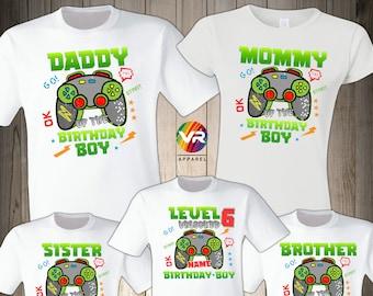 Gamer Birthday Boy Shirt Family Birthday Shirt Gaming Boy Personalized Gamer Shirt Video Game Birthday Shirt Gamer Birthday Level Up Shirt