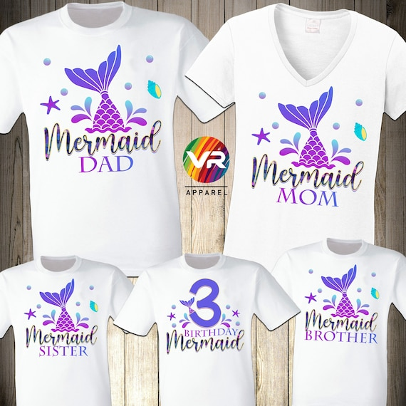 Mermaid Family Shirts Mermaid Birthday Girl Party Mer Mom Mer Dad Mer Security Birthday Mermaid Sea Matching Custom Personalized