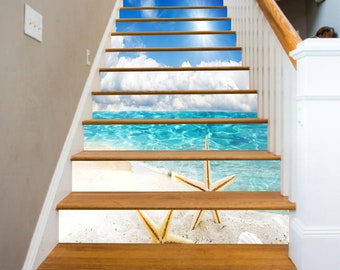 Details about  /3D Sea Coast 029 Stairs Risers Decoration Photo Mural Vinyl Decal Wallpaper US